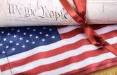 Spojené státy americké ústavy a usa vlajka