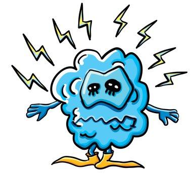 Funny cartoon cloud under electricity