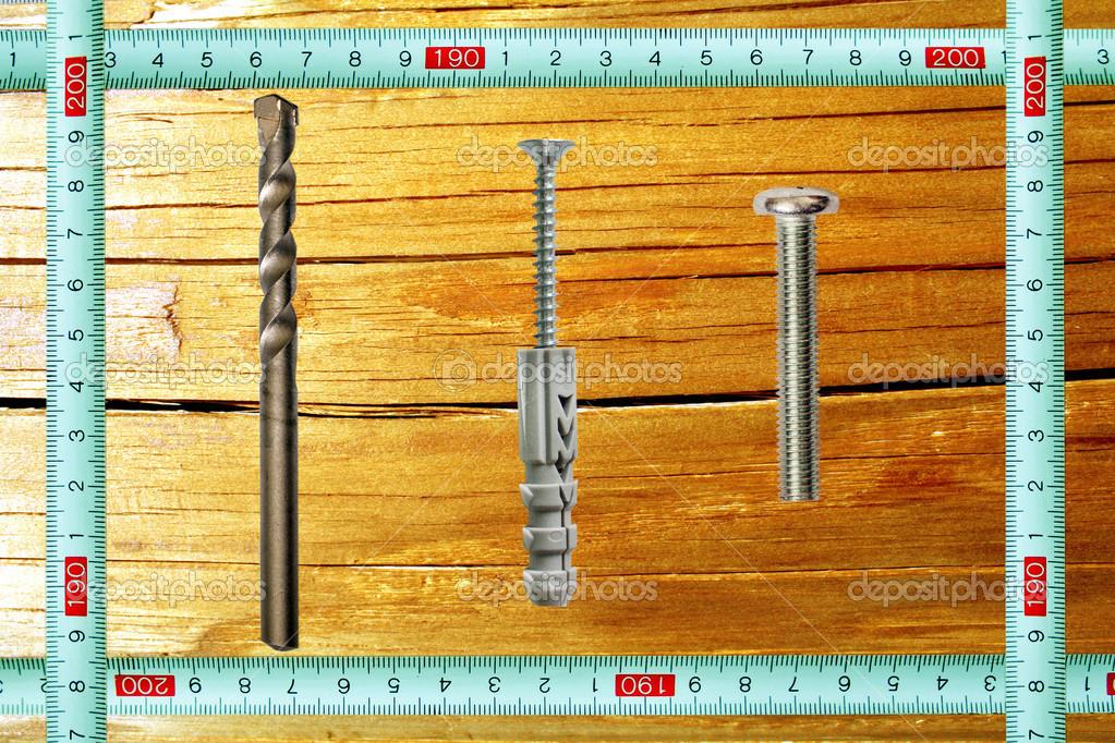 marco con una regla de medición y herramientas contra la textura de ...