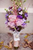 modré a bílé svatební kytice