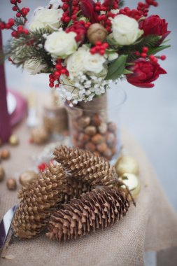 Christmas decorations, wedding table in the park