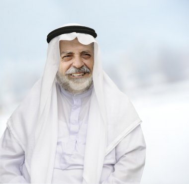 Senior Arabic man in traditional clothes