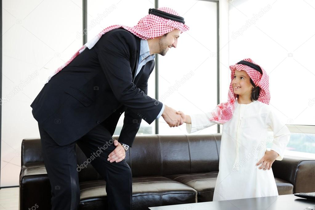 Arabic muslim businessman with his son at office stock photo arabic muslim business with children at office photo by zouzou m4hsunfo