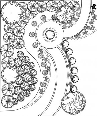 Plan of garden with plant symbols