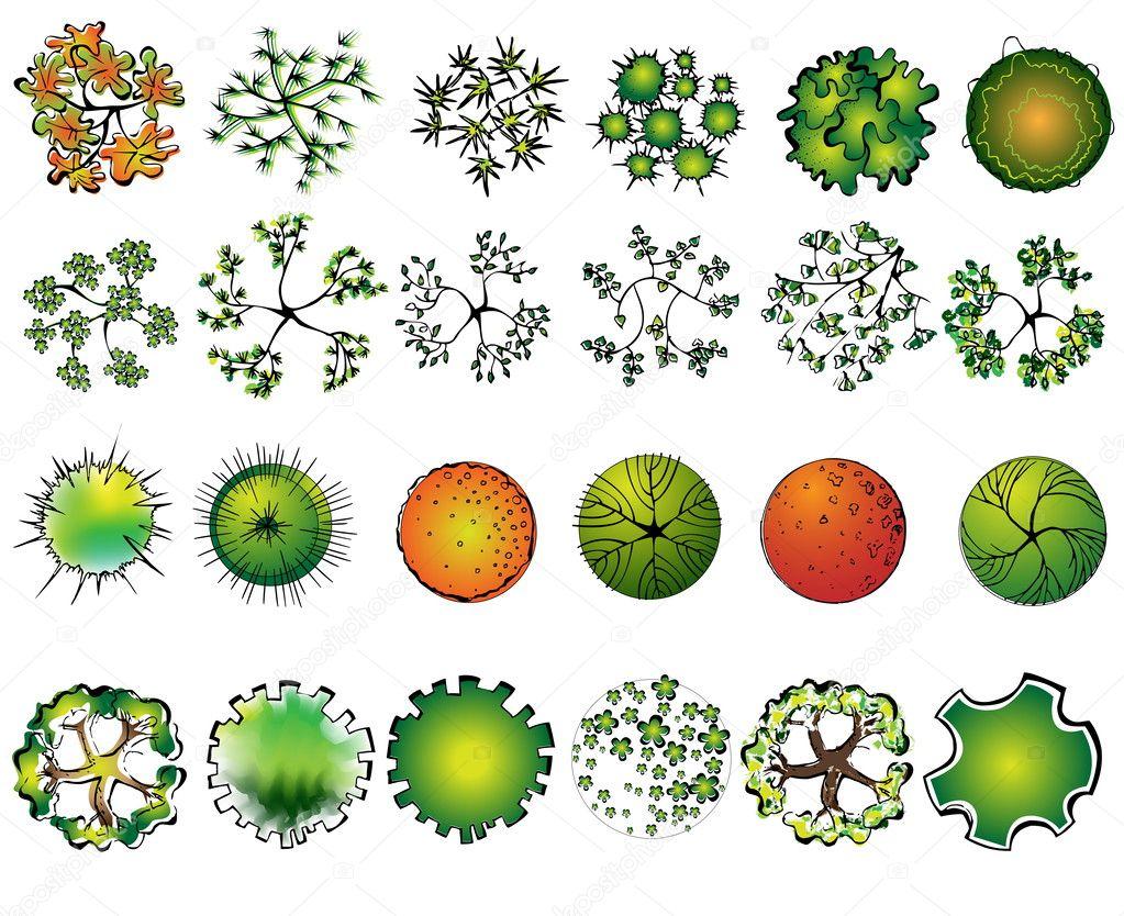 A set of colored treetop symbols, for architectural or landscape design