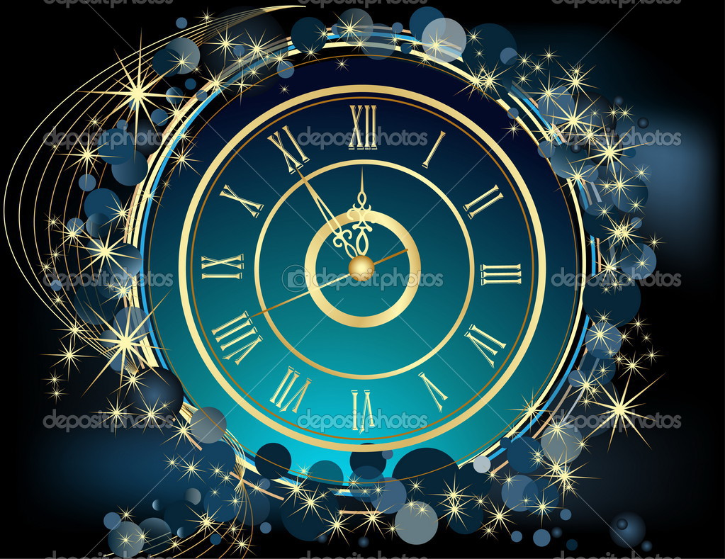 gold happy new year background with clock stock vector
