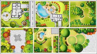 vector Landscape Plan with treetop symbols