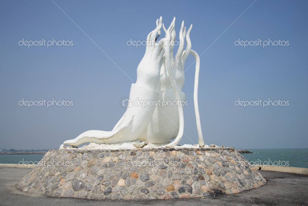 Sculpture Of A Giant Squid In The Fishing Port Of Cha Am Thailand