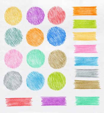 Set of color pencil design elements