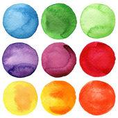 Fényképek akvarell, kézzel festett körök gyűjtemény