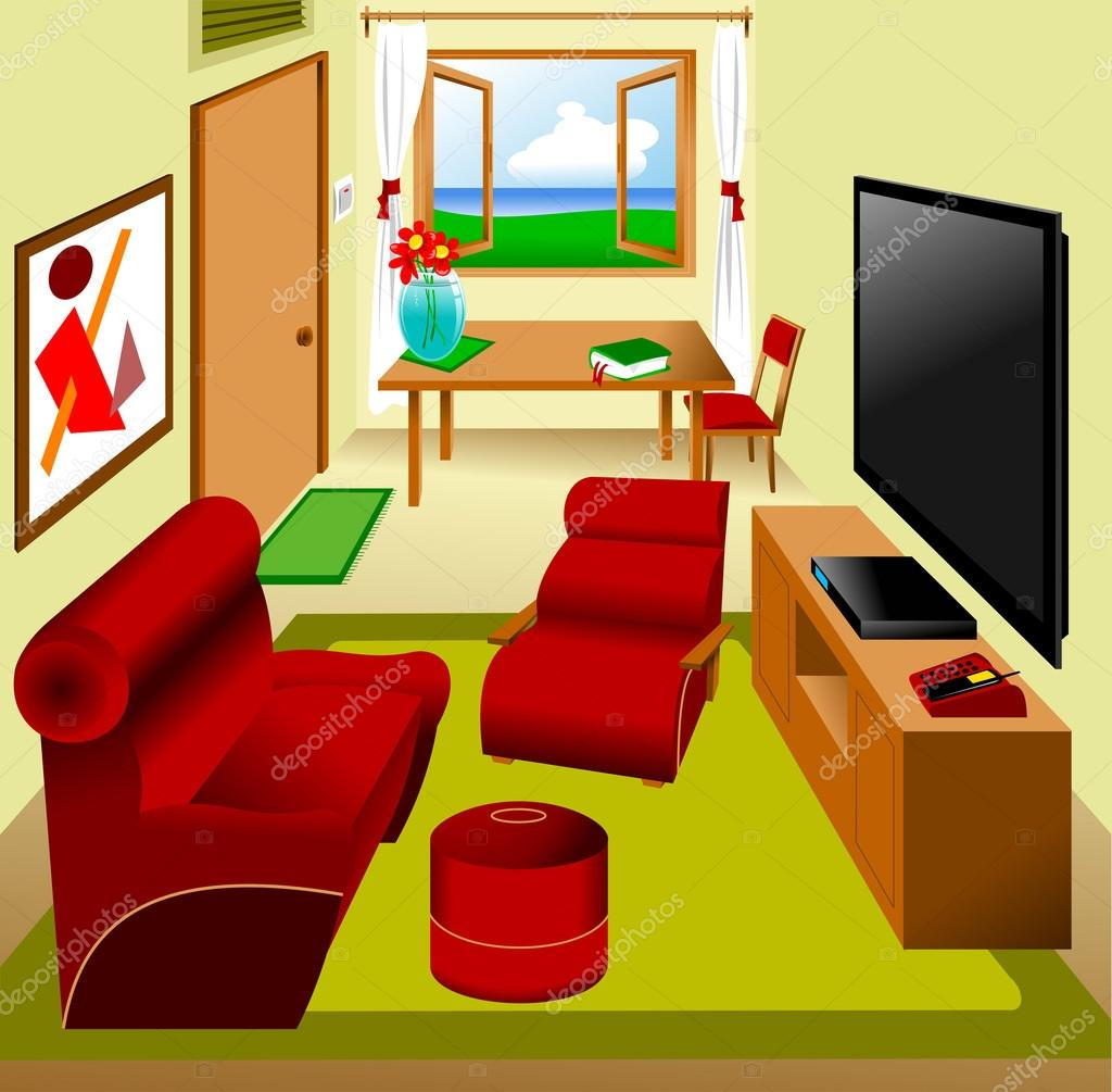Livingroom stock vector sababa66 23750327 for Cartoon picture of a living room