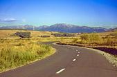 strada con curva con montagne sullo sfondo
