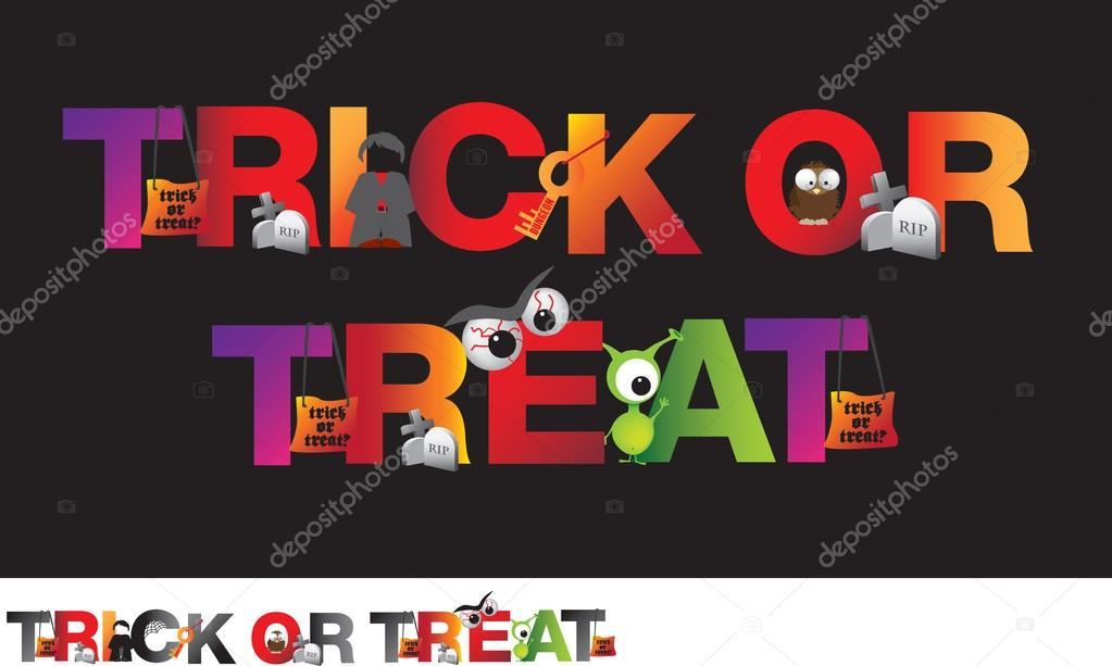 Different alphabet of halloween spelling ou the word trick or treat