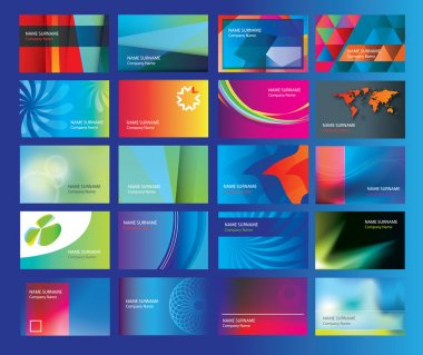 graphic design for a set of modern flat business cards