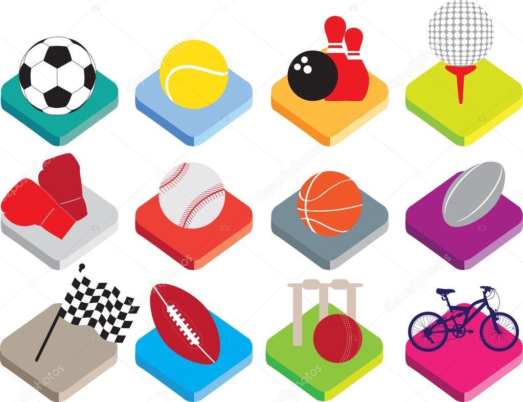 Fondo Con Iconos De Deporte: Isometric Flat Sports Ball Icon Set On White Background