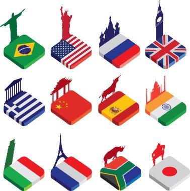 Flat isometric 3d flag icons, famous world landmarks on white