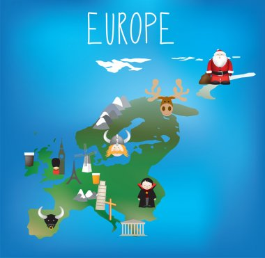 Map of Europe with cute child friendly icons