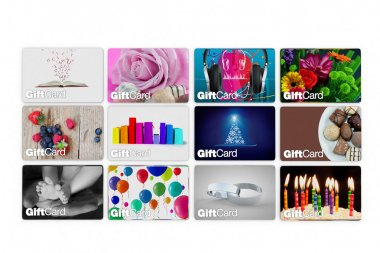 Range of gift card designs for all people, white background