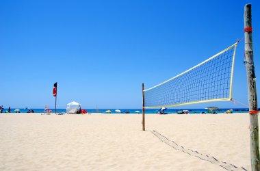 Beach Volleyball net on sandy beach