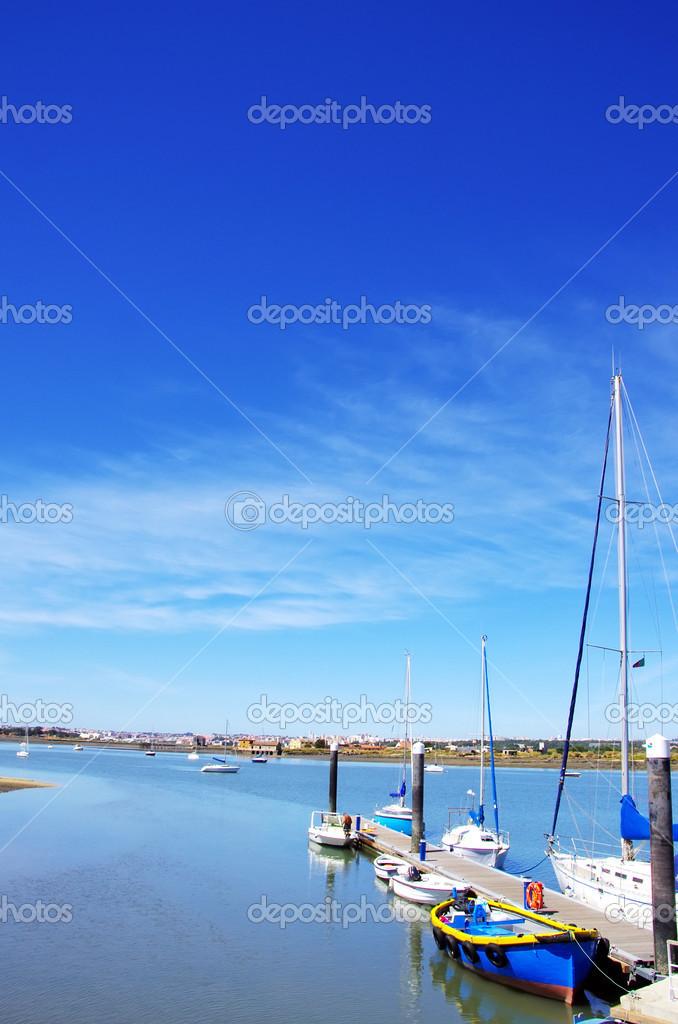 Fishing boats at Seixal bay, Portugal
