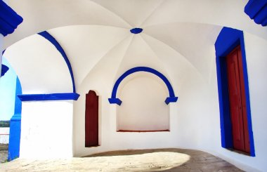 White and blue atrium of old church
