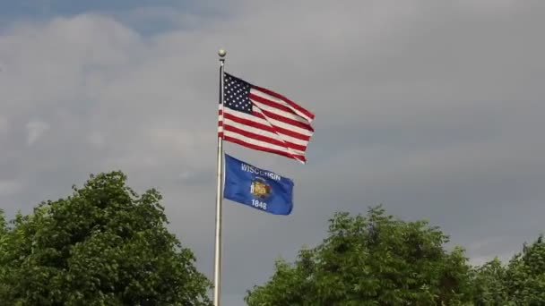 American and Wisconsin Flags Flying