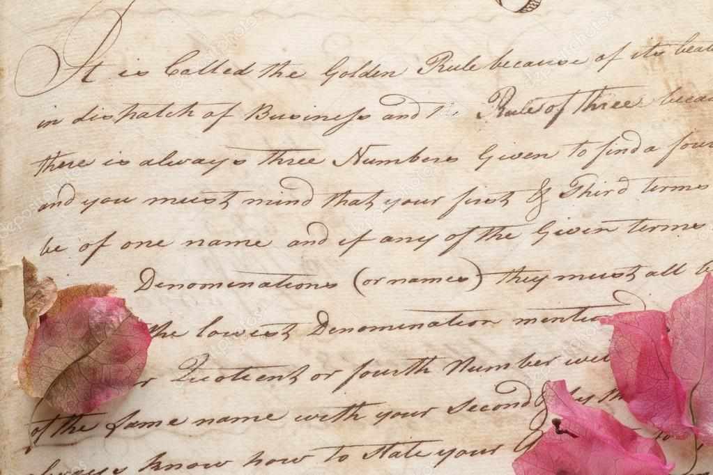 Old document hand script with flowers