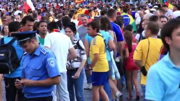 KIEV, UKRAINE - JULY 1: Spanish and Italian football fans before final match of European Football Championship