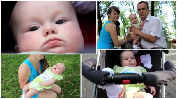 Montage of happy family mother, father and baby
