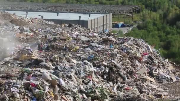 Bulldozer on landfill