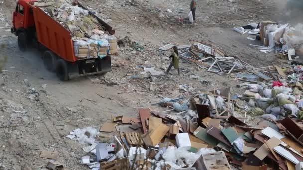 Dump truck in the city dump