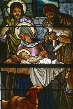 Nativity Scene, stained glass