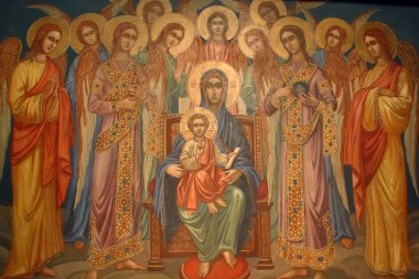 Virgin Mary with baby Jesus and choir of angels