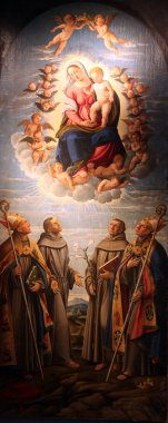 Madonna and Child in the glory of heaven with St. Bonaventure, St. Francis of Assisi, St. Anthony of Padua and St. Louis