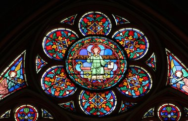 Stained glass window in Cathedral Notre Dame de Paris