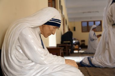 The statue of Mother Teresa in the chapel of the Mother House, Kolkata, India