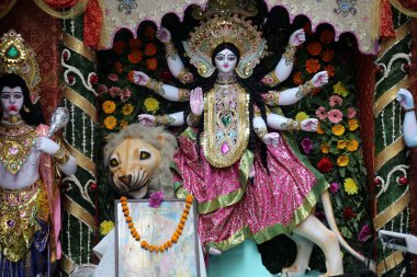 Goddess Durga on February 08, 2014. Goddess Durga is popular amongst Hindu Bengalis, and is worshipped with enthusiasm by her devoted followers
