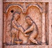 Kristus provedením díla milost úlevy v Baptisteriu, parma, Itálie