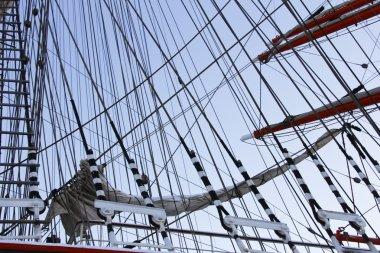 Masts and rigging of a sailing ship