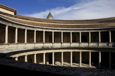 Colonnade in Palacio de Carlos V in La Alhambra, Granada, Spain.