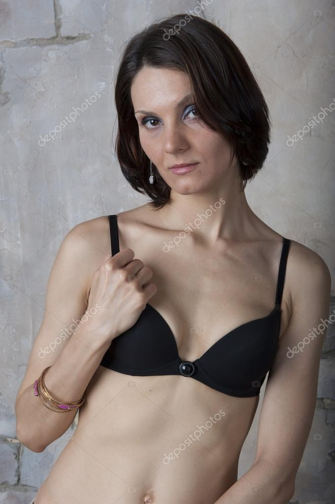 b2532643d2a Young woman in black lingerie — Stock Photo © Aviavlad3 #27895507