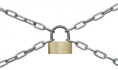 The padlock and chains.
