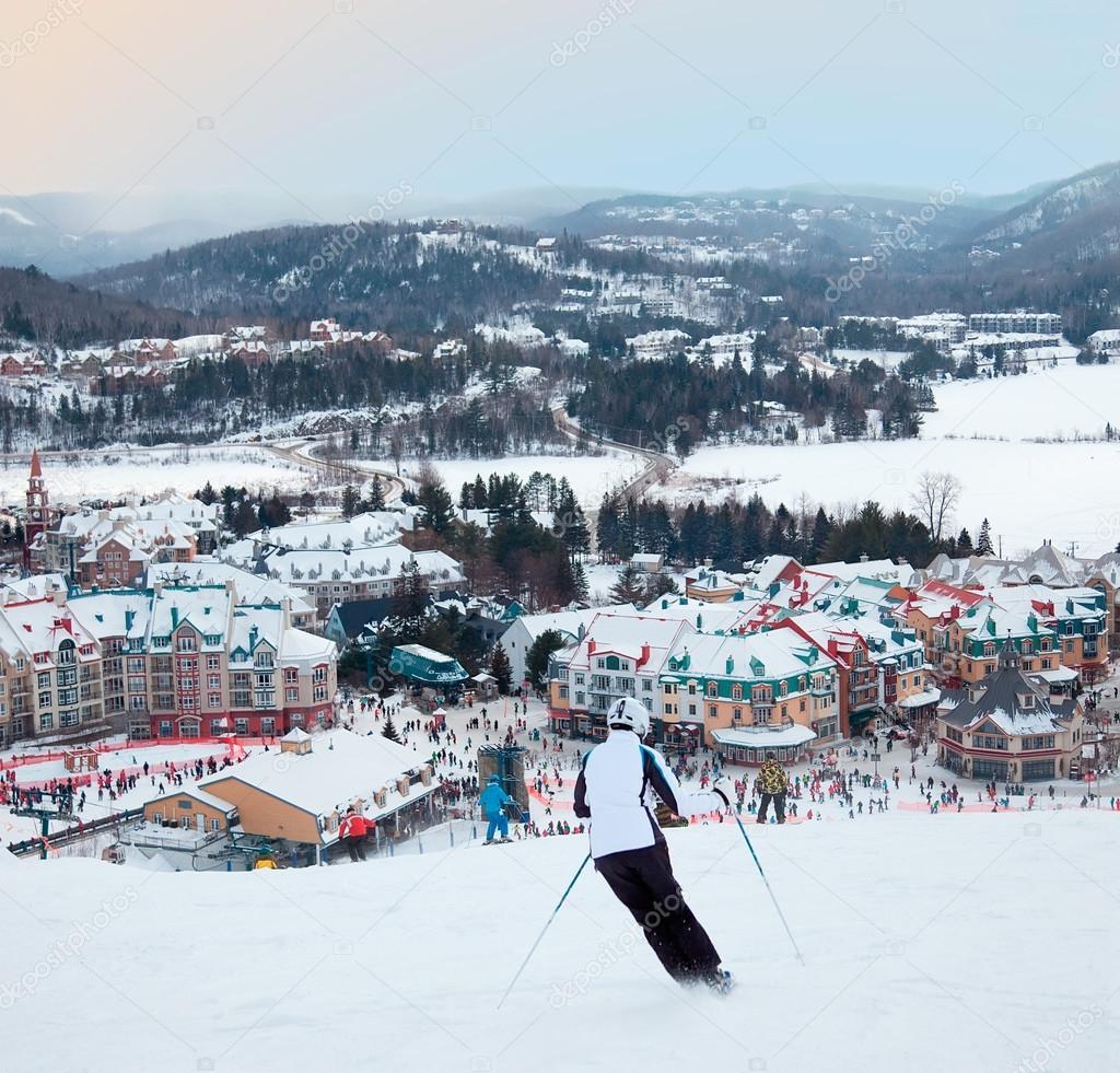mont-tremblant ski resort, quebec, canada – stock editorial photo