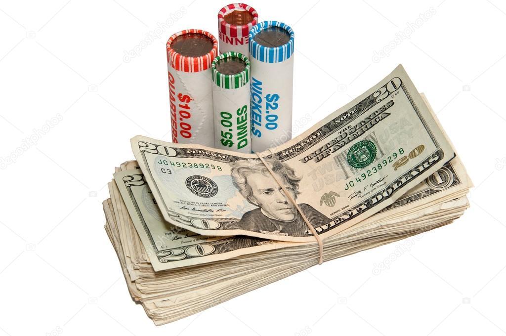 Stapel Von Usa Währung Und Rollen Der Münzen Stockfoto Rcarner