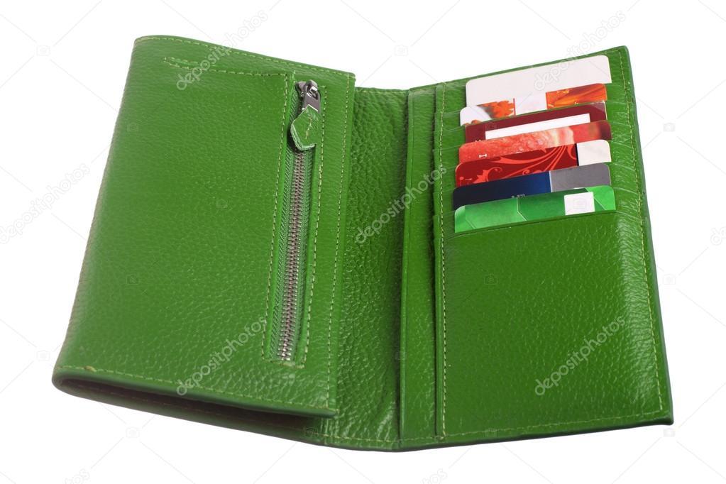 e1f6fa1f9e Ανοιχτό πράσινο Δερμάτινο πορτοφόλι με πιστωτικές κάρτες — Εικόνα από ...