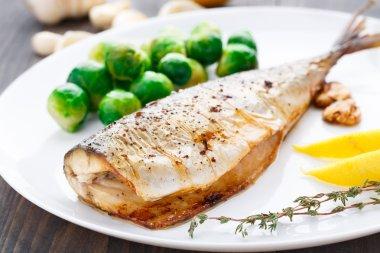 Delicious baked mackerel on a white plate stock vector