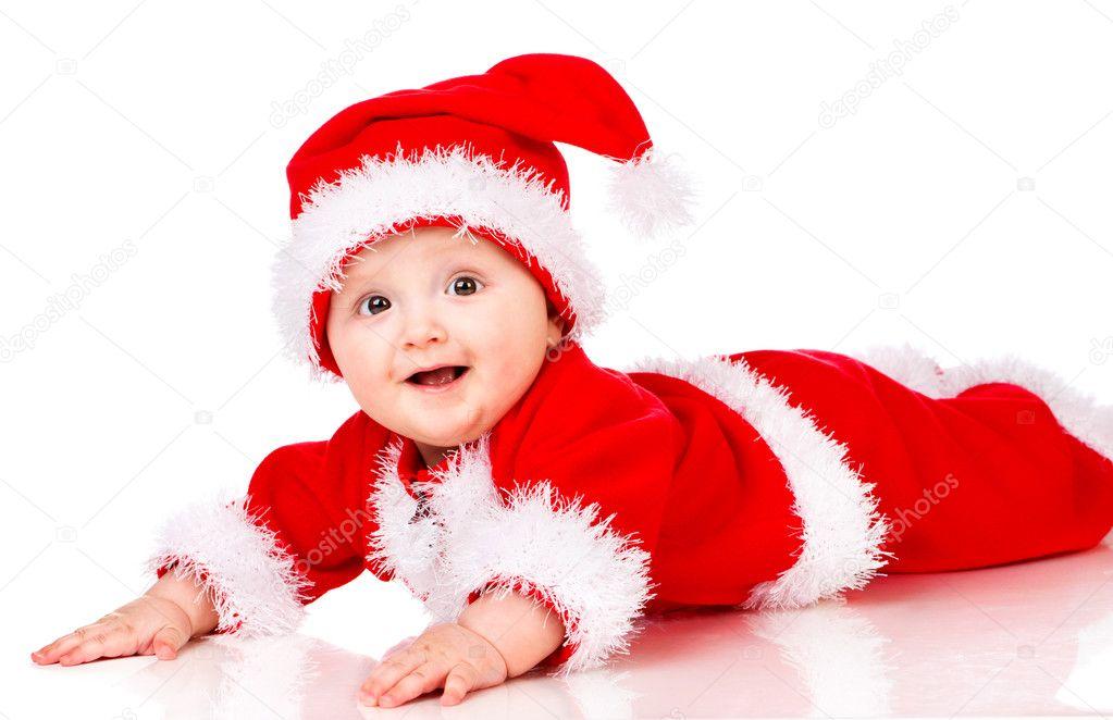 Karácsonyi baba Mikulás ruha felett fehér háttér — Fotó szerzőtől vankad e984100c4f