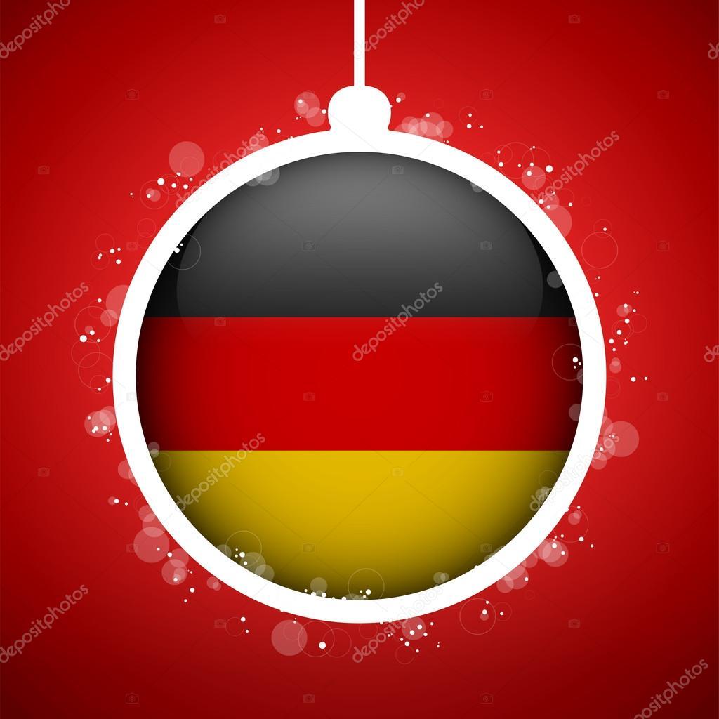 Frohe Weihnachten Aus Deutschland.Frohe Weihnachten Die Rote Kugel Mit Fahne Deutschland