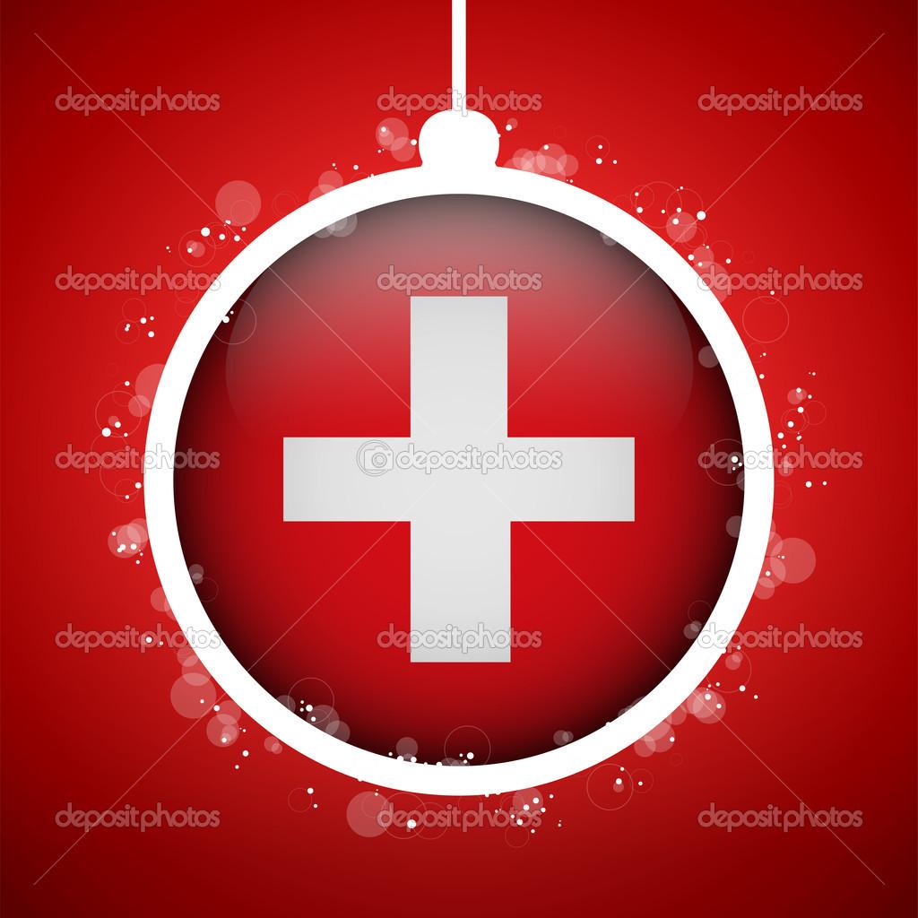 Frohe Weihnachten Schweiz.Frohe Weihnachten Die Rote Kugel Mit Fahne Schweiz Stockvektor