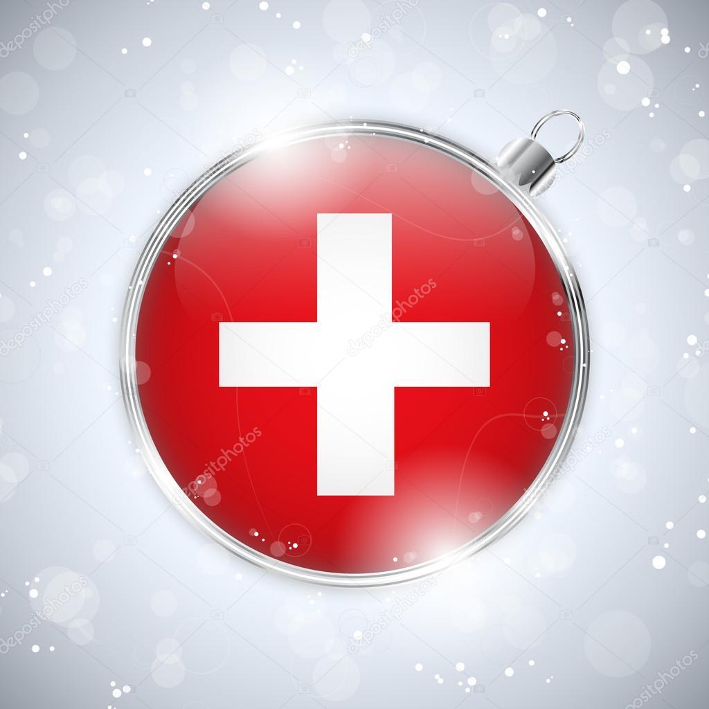 Frohe Weihnachten Schweiz.Frohe Weihnachten Silberne Kugel Mit Fahne Schweiz Stockvektor
